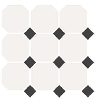 Плитка Topcer White Octagon 16 Black Dots 14 30x30